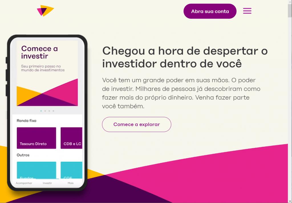 site da easynvest com call to actions claros como 'abra sua conta' e 'comece a explorar'