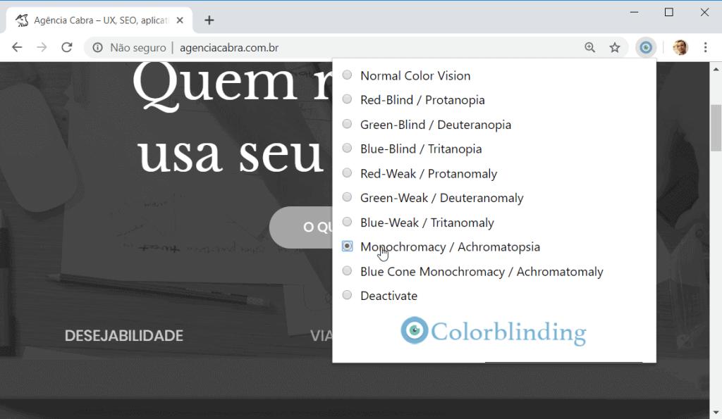 Extensao simulando um daltonismo deixando site preto-e-branco