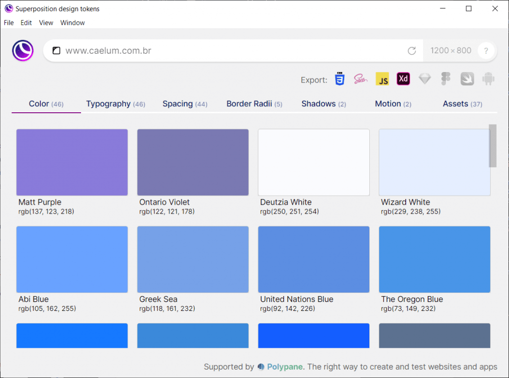 Superposition com o site da Caelum carregado. Na tela se ve as cores usadas no site como roxo e varios tons de azul