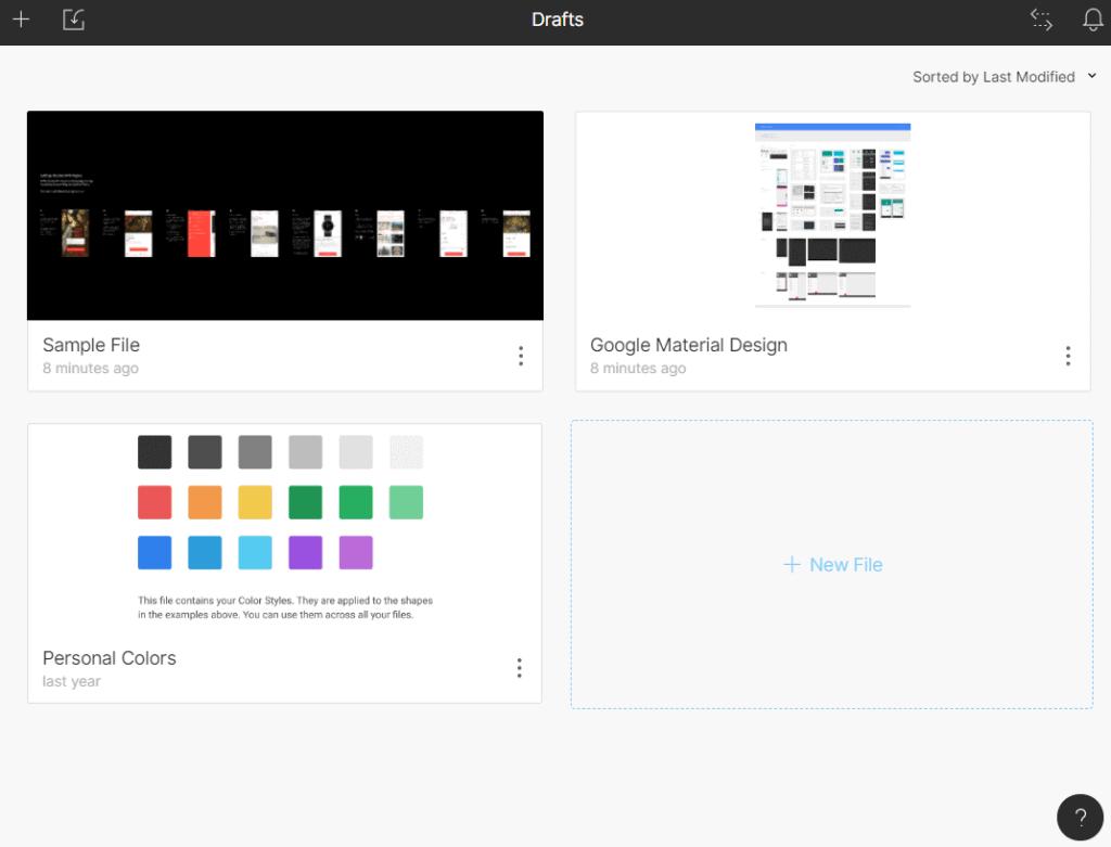 Tela inicial do Figma com alguns projetos prontos como sample file, google material design e cores pessoais. Se ve tambem um botao de arquivo novo