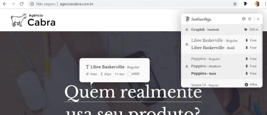 Print mostrando a extensão fontninja mostrando qual fonte, tamanho e altura de linha que tem um titulo em um site.