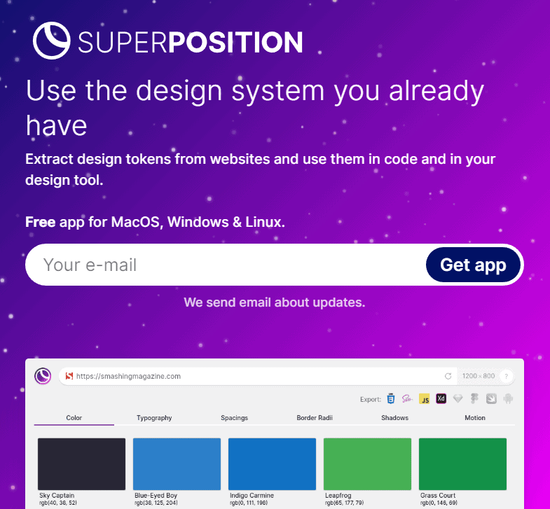 Print do site da ferramenta de UX Superposition design system rapido