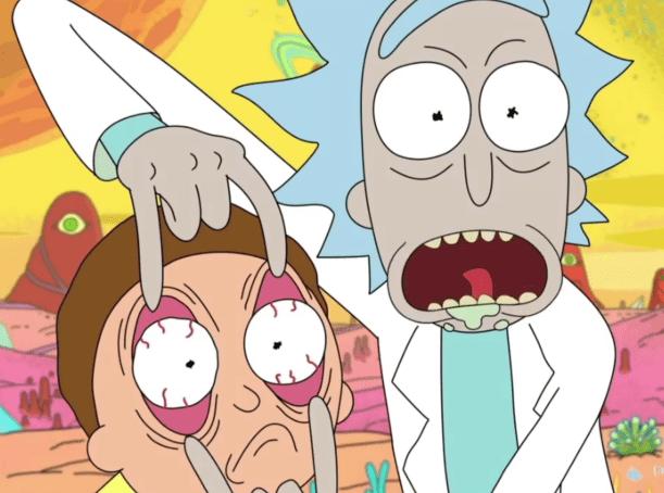Ricky abrindo os olhos do Morty