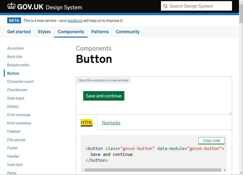 padroes do componente botao usado no ds, no print um botao verde escrito salvar e continuar. Em baixo um code snippet em html do botao