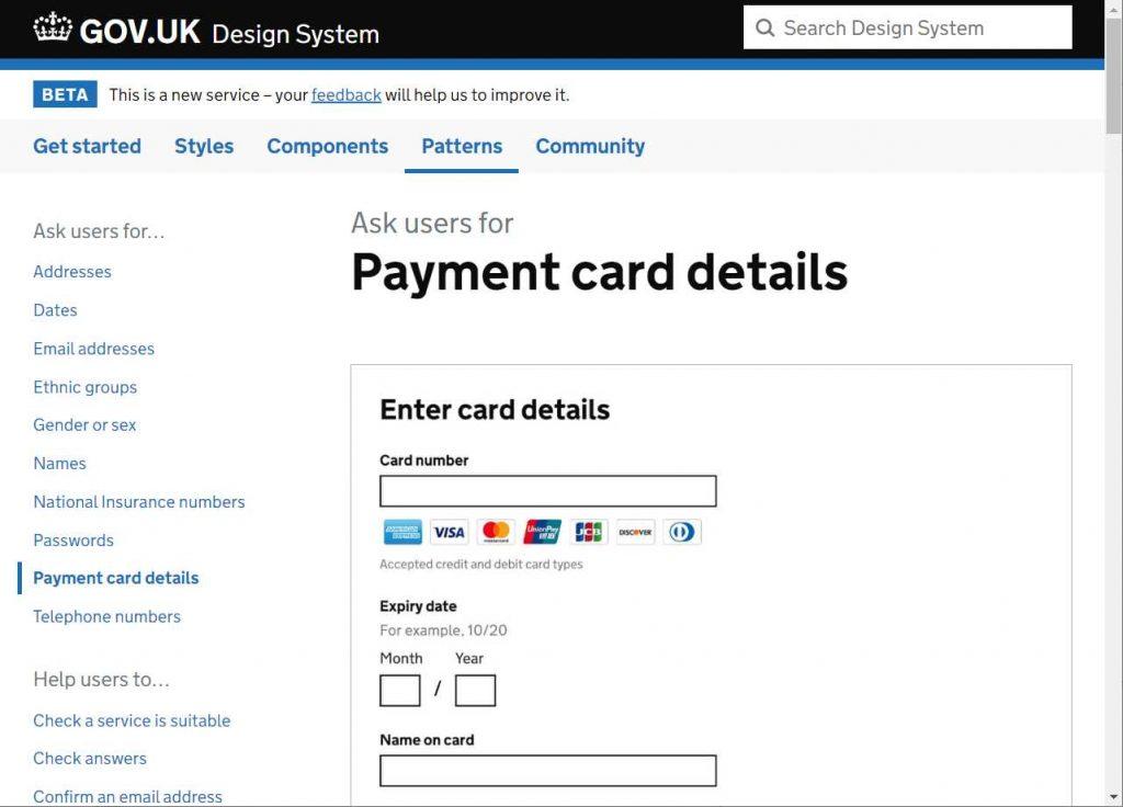 exemplo de padrao usado para pedir aos usuarios dados de cartão de crédito
