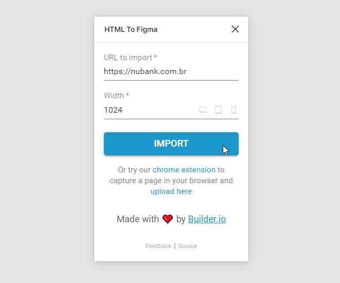 janela do plugin mostrando campos para digitar URL e o viewport size. Informacao sobre a extensao do chrome e do autor builder.io