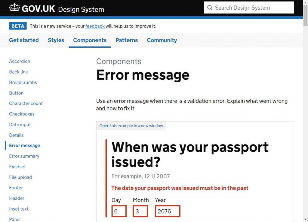 exemplo de mensagem de erro em um campo de data