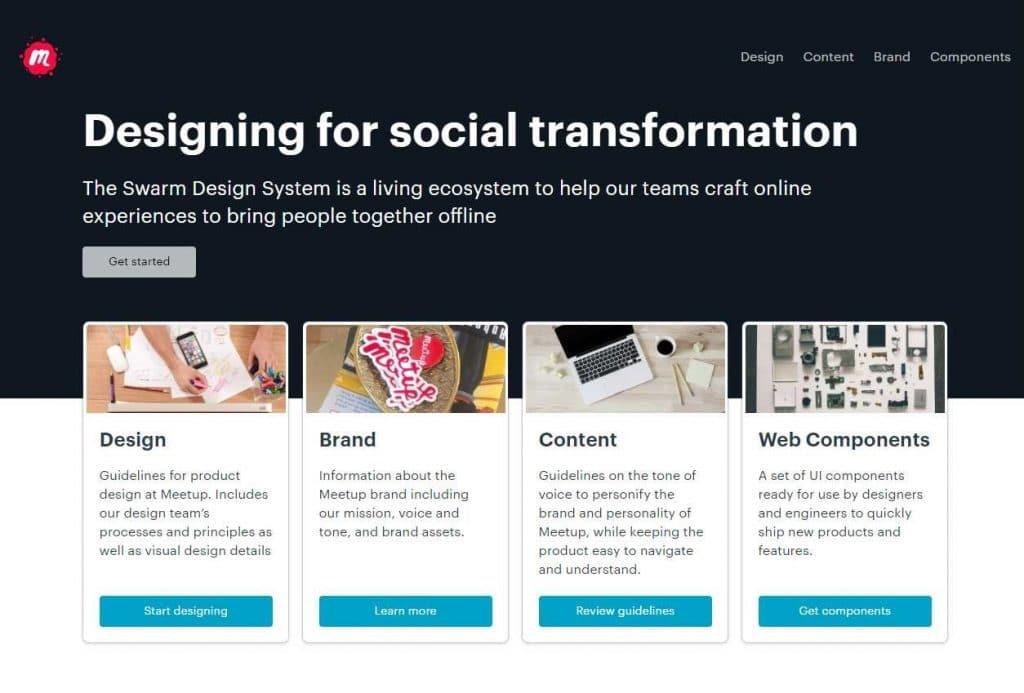 home do design system swarm. No meio o titulo 'projetando para transformacao social' em ingles. Se destacam 4 botoes de 4 cards, sao eles design, brand, content e web components.