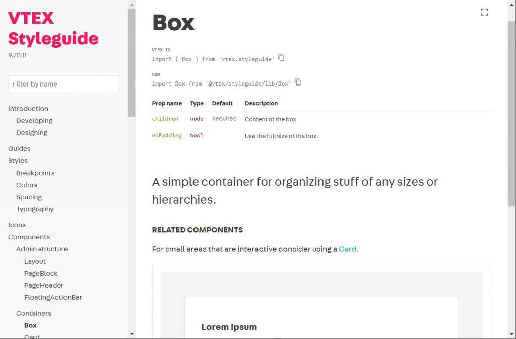 instrucoes de como implementar o box da vtex