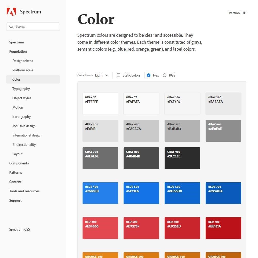cores usadas no ecossistema adobe, na pagina cores como azul e vermelho, opcao para mudar de hexadecimal para rgb, mudar o tema para modo noturno