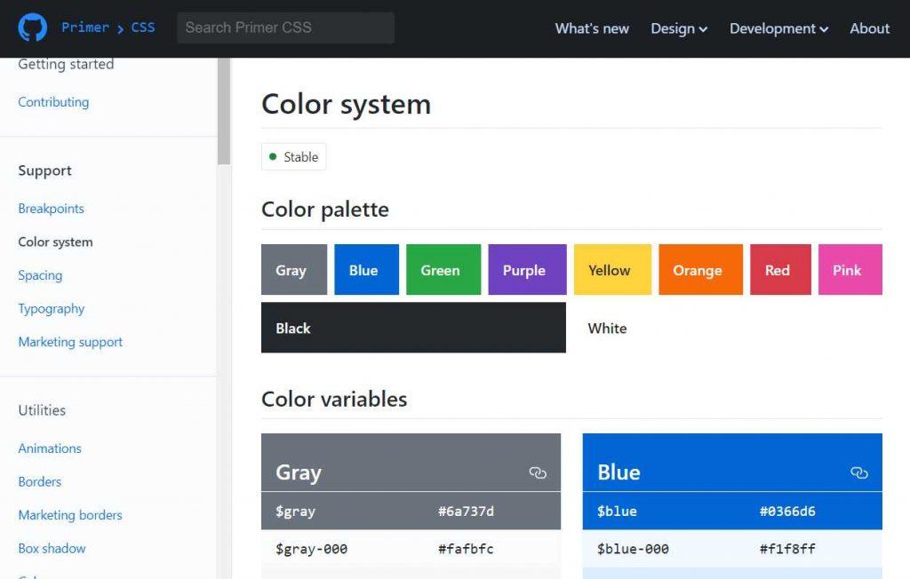 sistema de cores do primer, cores como cinza, azul e roxo