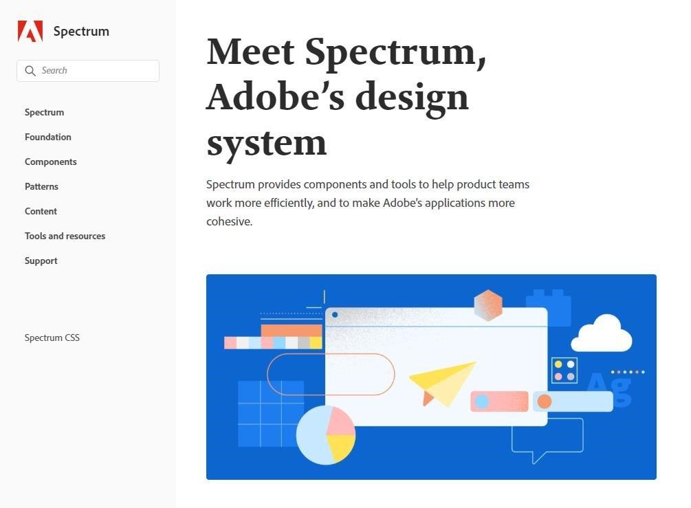Capa do design system da adobe menu na esquerda e uma grande ilustracao com alguns componentes, cor predominante na pagina é branco e na ilustracao azul