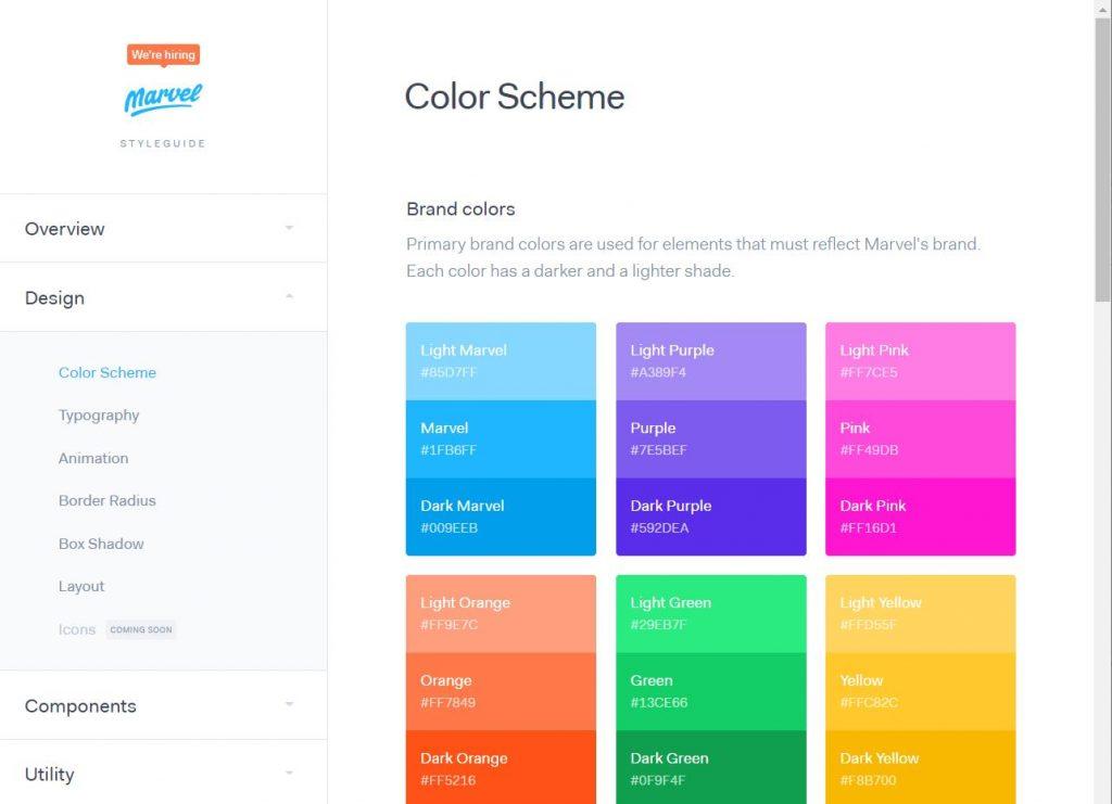 sistema de cores do design system do marvel, 3 tons de cada cor como azul, roxo, rosa e verde