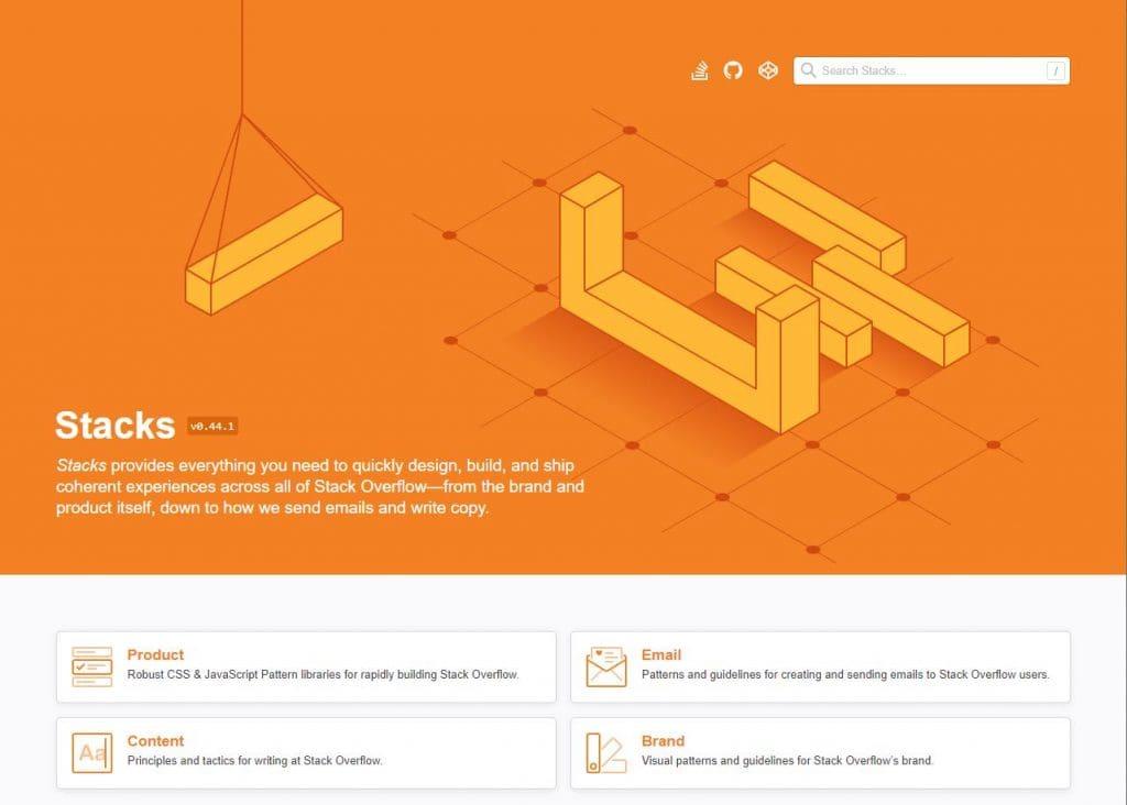 Capa do DS do stackverflow, muito laranja e 4 categorias em baixo