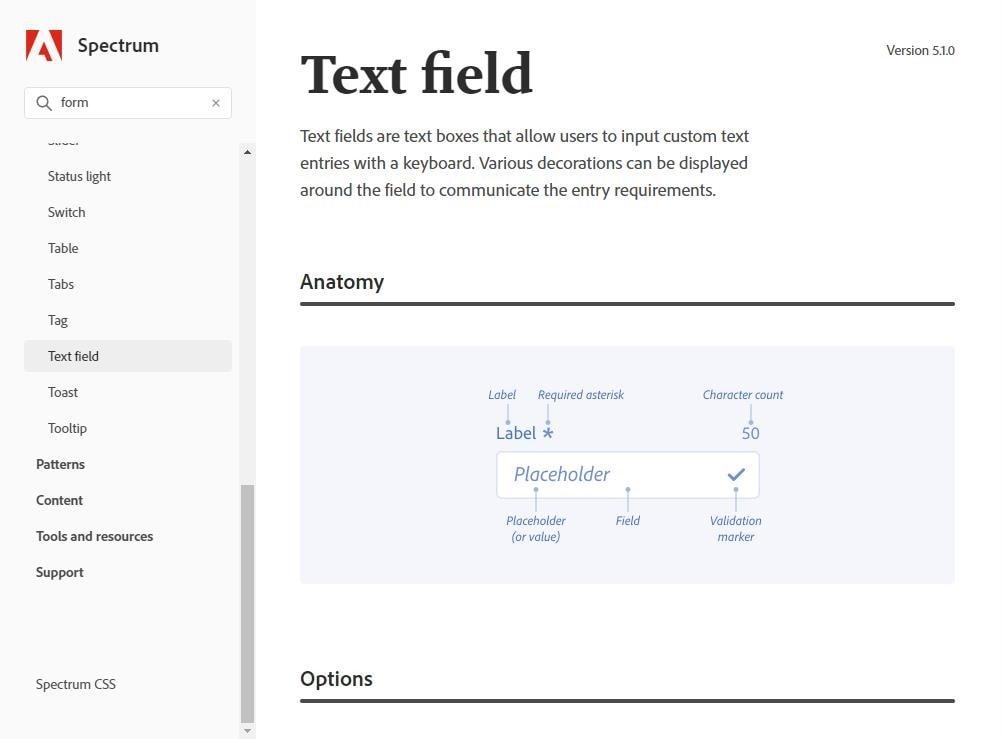 pagina sobre campos de texto do spectrum. Logo no começo se ve a anatomia de um text field com varios pontos como label, contador de caracteres, placeholder