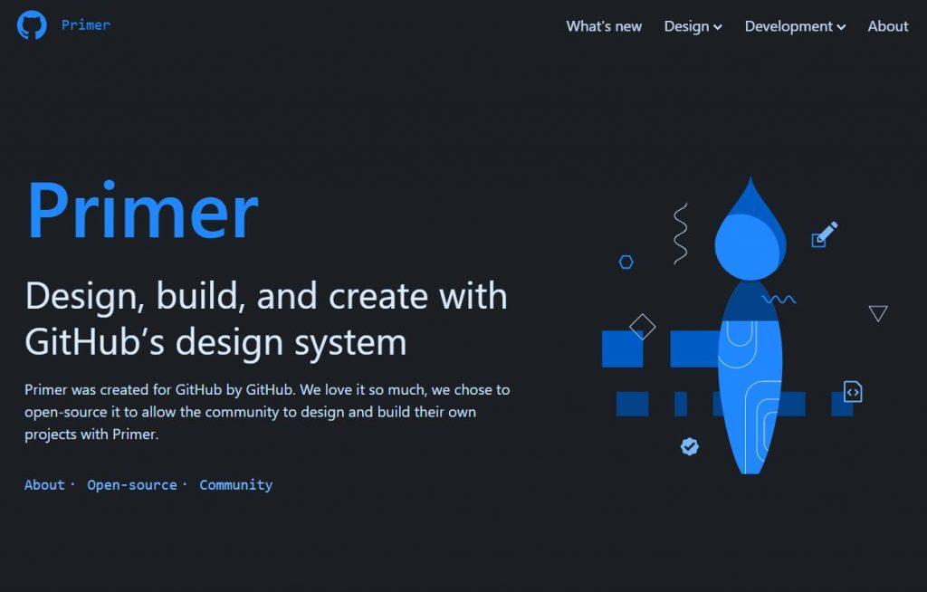 home do design system do github. No meio o titulo Primer, projete, construa e crie com o DS do github. Cores pedrominantes preto no fundo e azul nas ilustracoes.