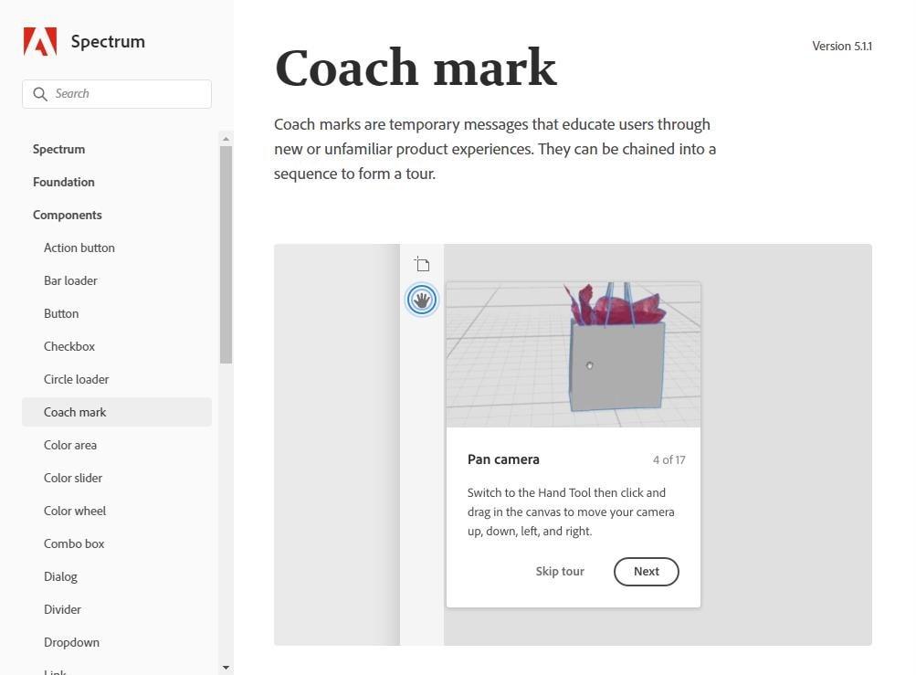 pagina sobre as mensagens temporarias para ensinar o usuario a fazer algo, adobe chama isso de coach mark. Na imagem um exemplo em uma ferramenta