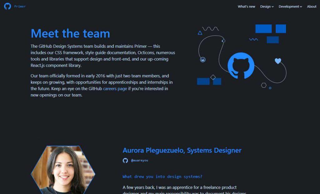 pagina de sobre o time do primer mostrando o que parece ser uma lista de pessoas, começando por uma moça chamada Aurora, designer de sistemas