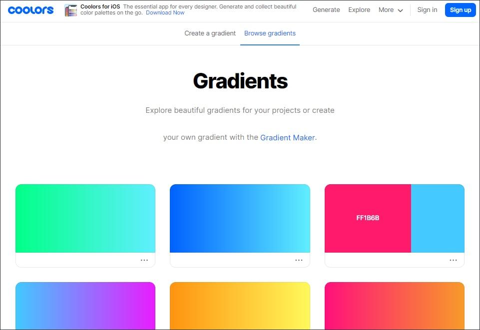print da home do coolors gradients,