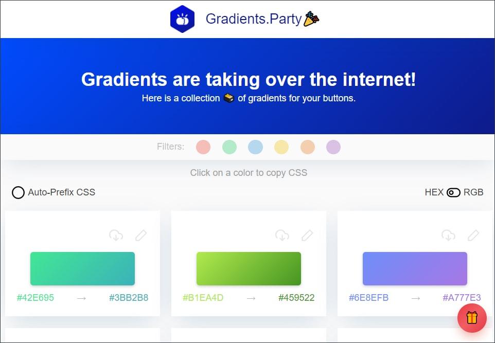 print da home do gradients party, filtro por cor base e 3 formas de botões azul verde e roxo, mostrando o hexadecimal de cada um