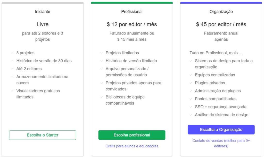 print dos planos do figma disponiveis em figma.com / pricing