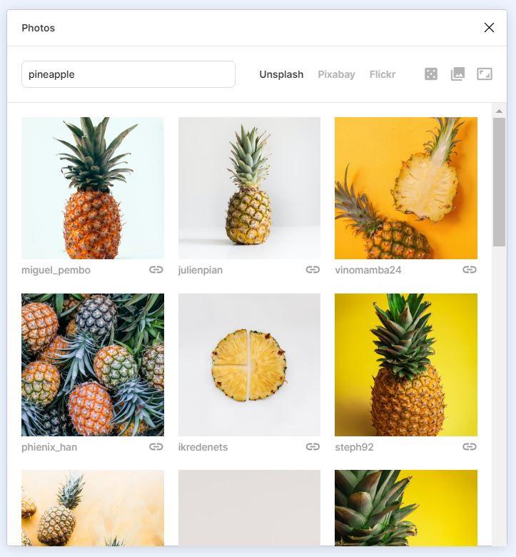 print do plugin photos, busca feita por abacaxi, unsplash selecionado, varias fotos de abacaxis na tela