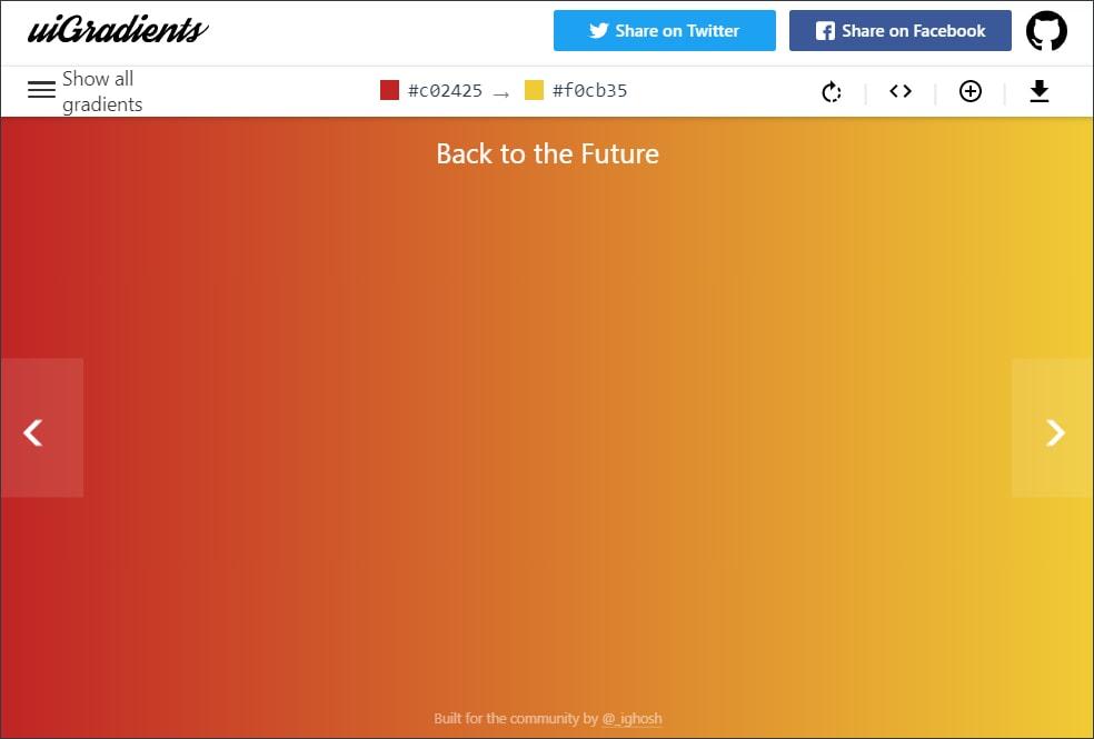 print da home do UI gradients com o tema back to the future escolhido, gradient em tons de laranja e amarelo