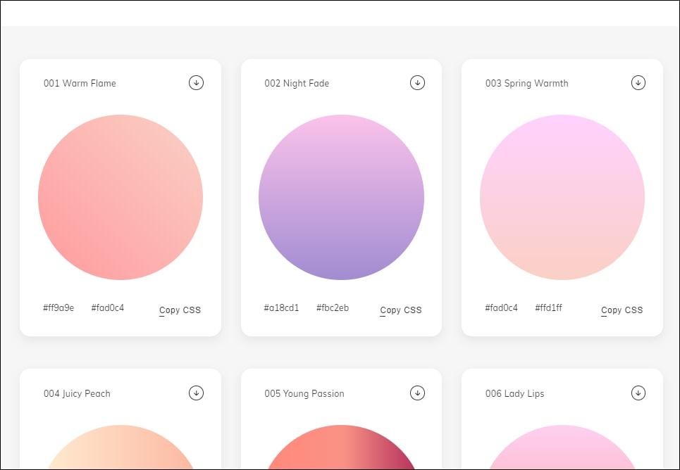 print da home do webgradients, visivel inteiramente 3 cards com círculos com gradientes, opcoes para copiar CSS